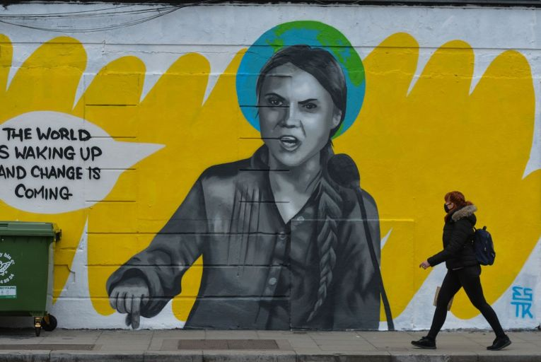 A new mural in Dublin by Irish artist, Emmalene Blake, representing Greta Thunberg, the Swedish environmental activist