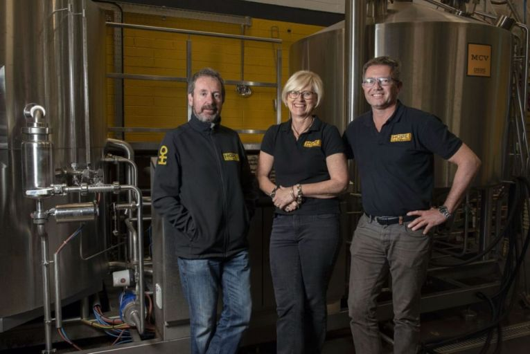 Des McSwiggan, Jeanne Mahony and Wim de Jongh, co-founders of Hope Beer: the company's output has gone from 35 per cent to 75 per cent cans