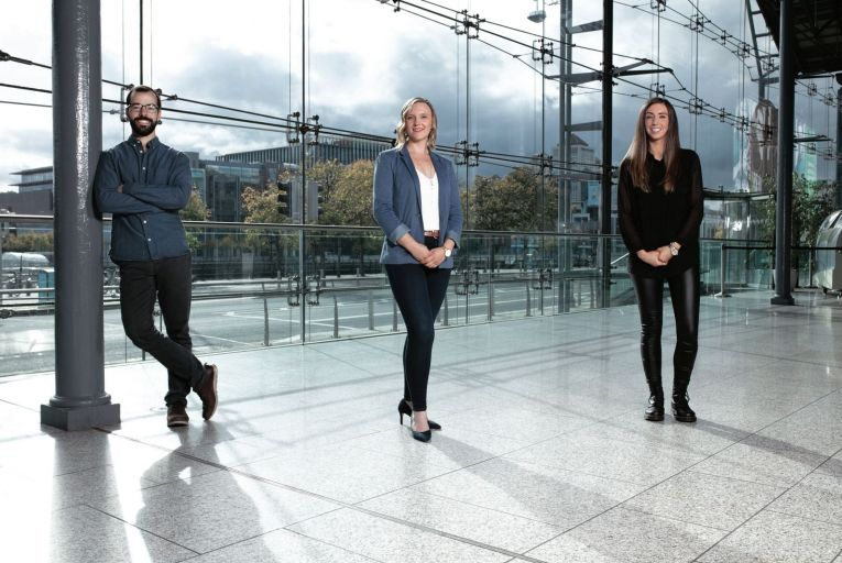 (L-r) Tiago Almeida (Head of Analytics), Sarah Gleeson (Digital Performance Principal) and Louise Ryan (Digital Performance Principal) of Strata3's Digital Performance Team photographed at CHQ, Dublin on Thursday, 1 October 2020.Photography by Brendan Duffy