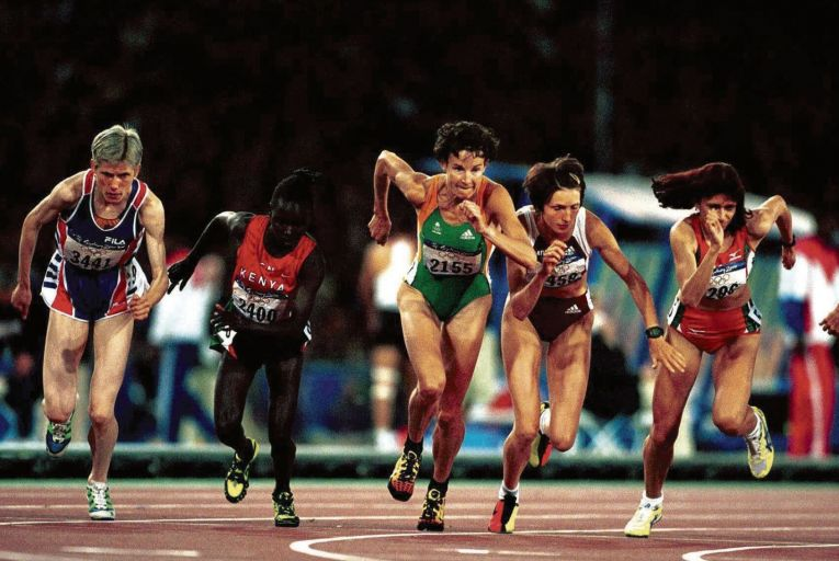 Sonia O'Sullivan's on her way to silver in the 5,000 metres at the 2000 Olympics. Picture: Inpho