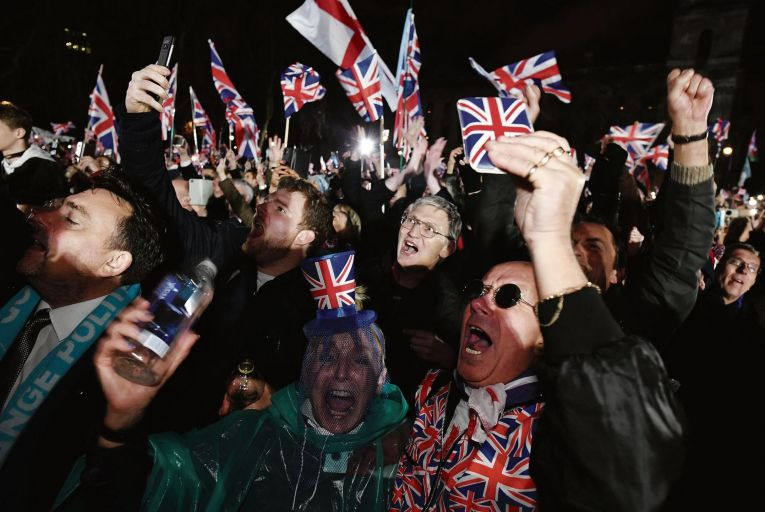 Brexit supporters cheer Britain's departure from the EU. Picture: Getty