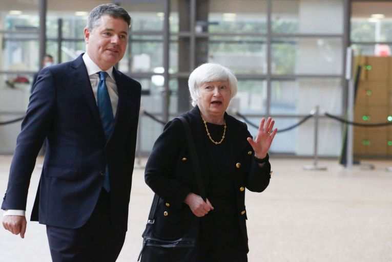 Janet Yellen, the US Treasury Secretary and Paschal Donohoe, Minister for Finance: meeting over global corporate tax reform