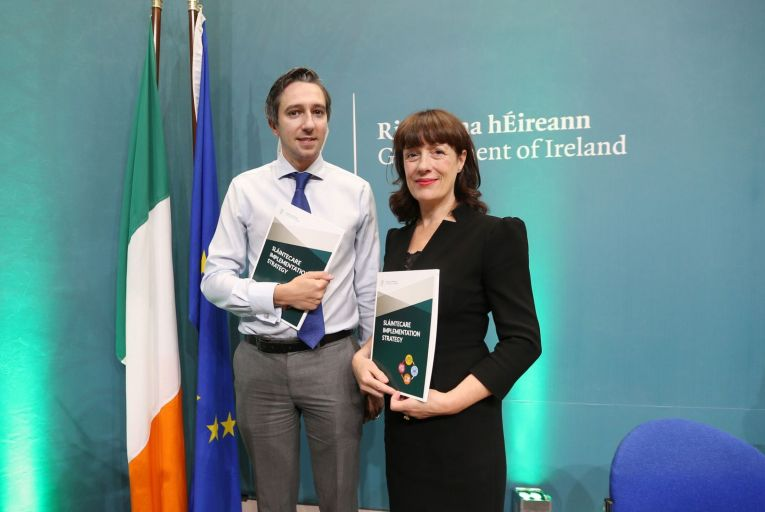 Laura Magahy pictured with former Minister for Health Simon Harris resigned from the board of Sláintecare last week. Picture: RollingNews.ie