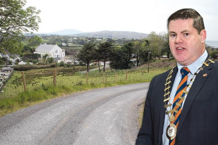 Councillor Seamus O'Domhnaill; left: the access road leading to his home in Gortahork in Co Donegal