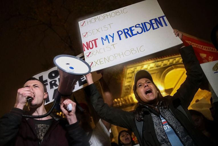 Protestors rally against Donald Trump in New York. Pic: Getty