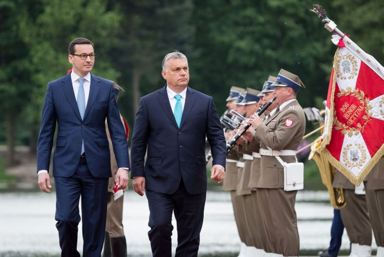 Polish Prime Minister Mateusz Morawiecki and Hungarian PM Viktor Orban are opposing the new rule of law mechanism in the EU budget because they have been violating it. Photo: Getty