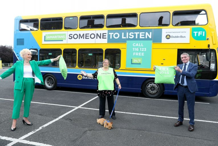 Rosemary Smith, former rally driver, Louisa Murray, Dublin Samaritans volunteer, and Phil Donohue of Dublin Bus at the launch of Learn 2 Listen. Picture: Maxwells