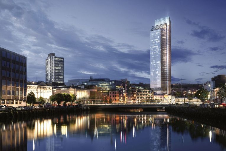 Plans for what will be Ireland's tallest building, a 34-storey 140-metre tower at Custom  House Quay in Cork city centre