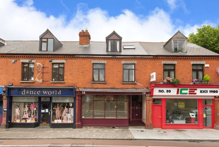 No 18 Sandford Road, centre, comprises an original shopfront with independent access and a front door providing access to the sizeable residential accommodation beyond