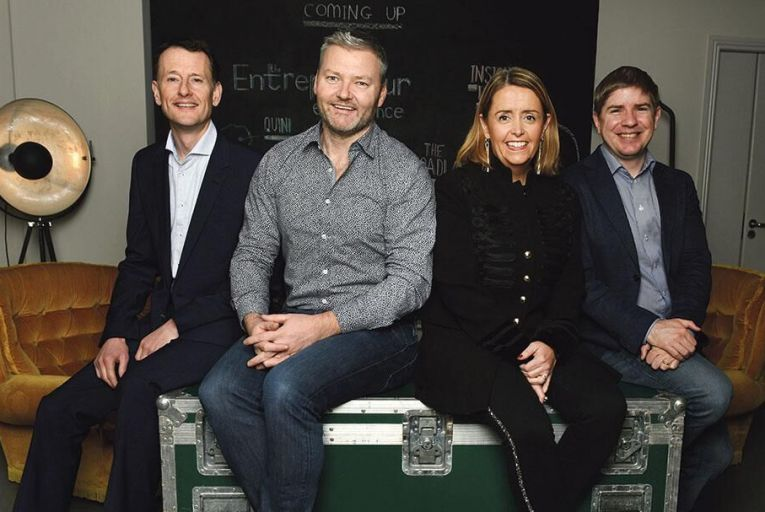 Michael Neary of Grant Thornton, Pete Smyth of Broadlake,  Fionnuala Wall of the CorkBIC  and Tom Lyons, Executive  Editor of The Sunday Business  Post, at the announcement Picture: Bryan Meade