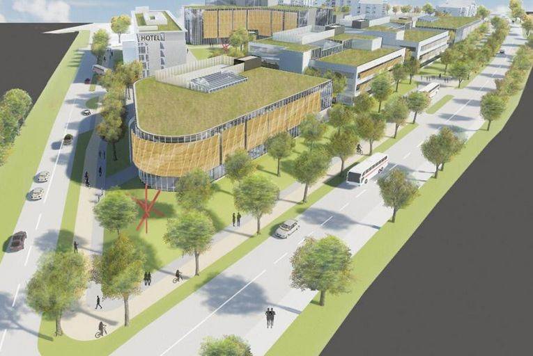 CGI of the proposed Crown Square mixed-use development in Wellpark, Galway