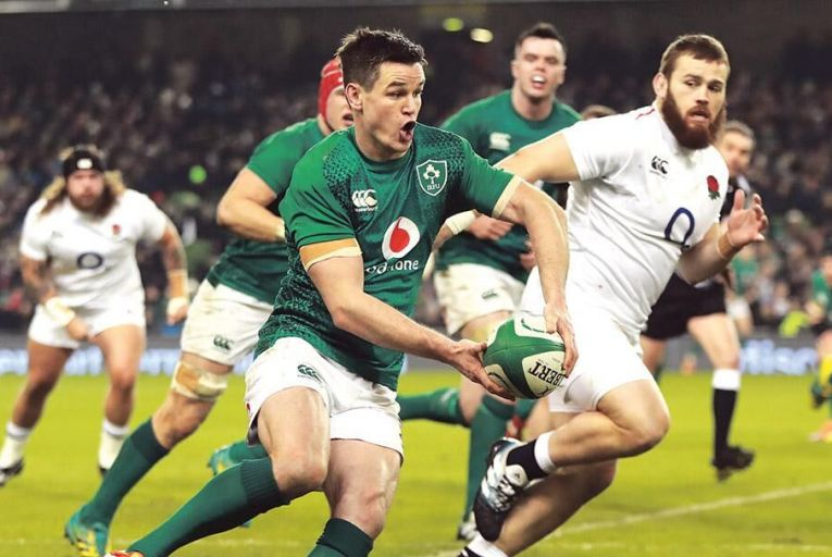 Johnny Sexton and Ireland fall to defeat against England at the Aviva in the Six Nations last February: the match was a big ratings winner for Virgin Media.