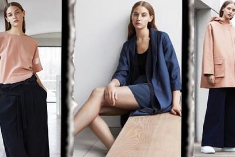 (From Left) Sheer panelled sleeve top €79; wide waist pleated trousers €79; Shawl collar jacket €150; sheer silk vest top €29; silk shorts €45; flat leather shoes €89; Grosgrain detail parka €150; wide-leg trousers with turn-ups €89; wrap-over leather sneaker €99
