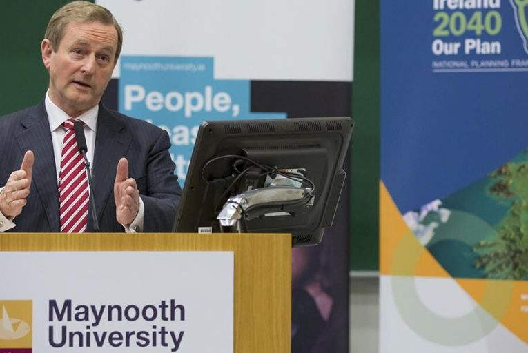 Enda Kenny at launch of  Ireland 2040.  Pic: Keith Arkins