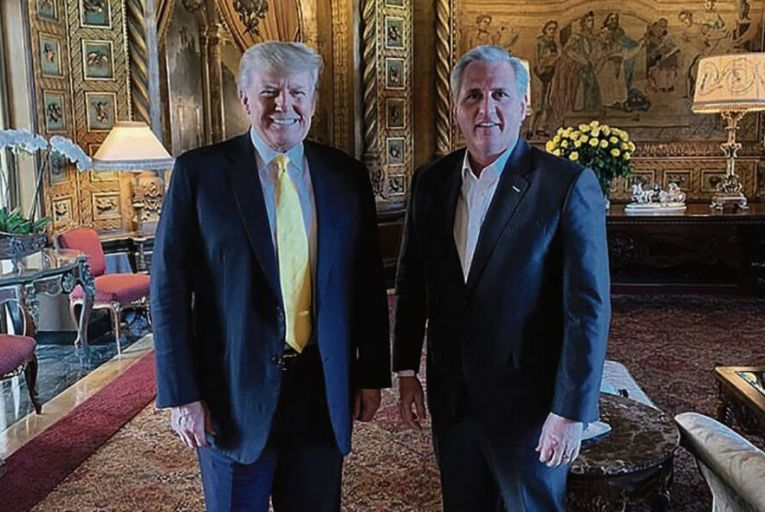 Donald Trump and Kevin McCarthy at Mar-a Lago in Florida last Thursday