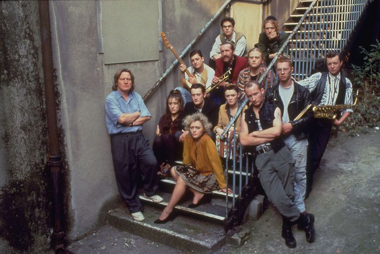 Alan Parker (far left) with the cast of The Commitments in 1991