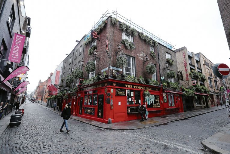 The Temple Bar pub in Dublin, deserted on a normally bustling St Patrick's Day, due to the coronavir    us pandemic Picture: PA