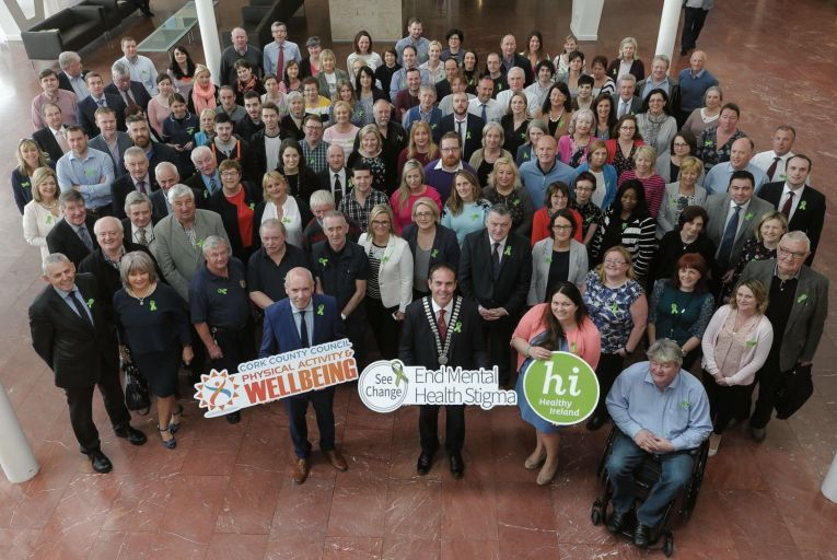 Tim Lucey, chief executive of Cork County Council, pictured at Cork County Hall with representatives of the HSE Cork/Kerry Community Care, elected members and council staff to support the 'Green Ribbon Campaign' raising awareness for mental health Pic: David Keane