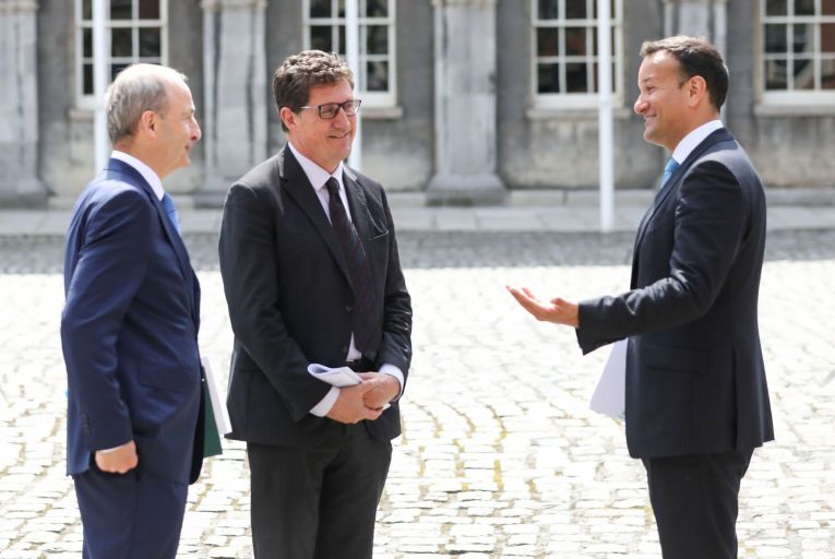 Micheal Martin, Taoiseach and Fianna Fáil leader, Leo Varadkar,.Tánaiste and Fine Gael leader, and Eamon Ryan, the Environment Minister and Green Party leader: Instead of garnering the support of the electorate for the coalition parties, the budget appears to have triggered further growth in the popularity of Sinn Féin, the lead opposition party. Picture: Rollingnews.ie
