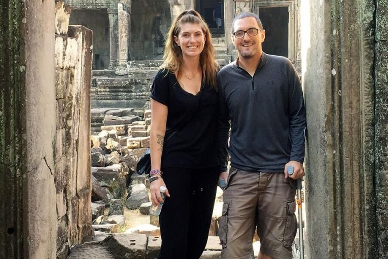 Cathy Lawson  and Andy Curtis  travelled to 21  countries in  ten months