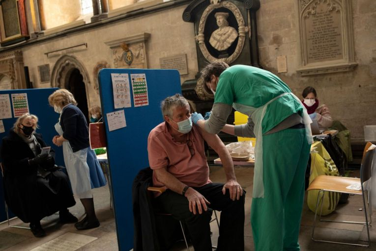A patient receives a Covid-19 jab at a vaccination centre in Salisbury Cathedral last week as part of Britain's major vaccine push Picture: Getty