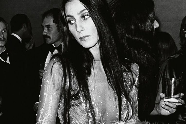 Cher in a feathered Saint Laurent dress at Studio 54