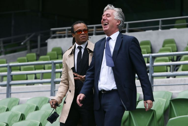 Dutch football legend Edgar Davids with then-FAI chief executive John Delaney at the launch of the International Champions Cup match between Barcelona and Celtic at the Aviva Stadium in 2016: Delaney claimed that year the FAI could be debt-free by 2020