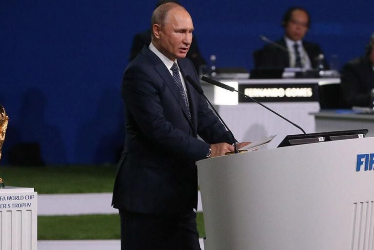 Russian President Vladimir Putin gives a speech during the 68th FIFA Congress at the Moscow Expocentre on June 13, 2018 in Moscow, Russia. (Photo: Getty Images)