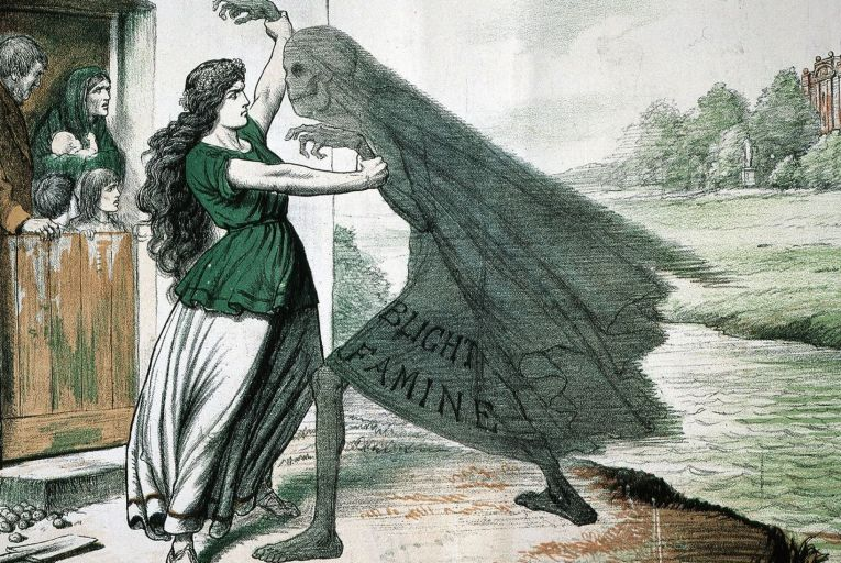 An old illustration of lady Ireland fighting with a Famine phantom