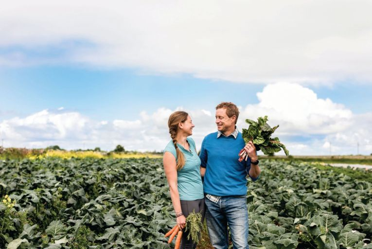 Jenny and Kenneth Keavey, founders of Green Earth Organics, on their farm in Corrandulla, outside Galway city. Picture: Nathalie Márquez Courtney