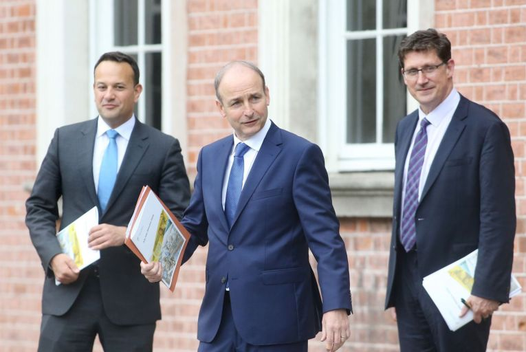 Leo Varadkar, Micheál Martin and Eamon Ryan, the three leaders of a coalition cobbled together to keep the wolf from the door. Picture: Sam Boal/RollingNews.ie