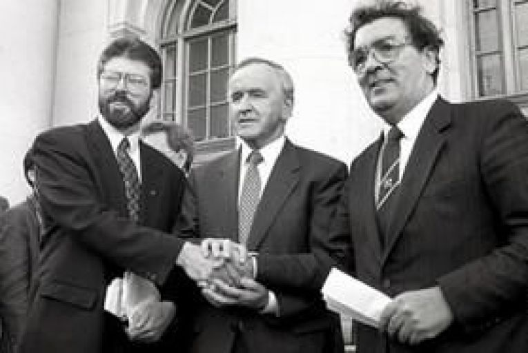Peace of mind: Albert Reynolds with Sinn Féin leader Gerry Adams and SDLP leader John Hume at Government Buildings on September 6, 1994. Picture: Derek Speirs