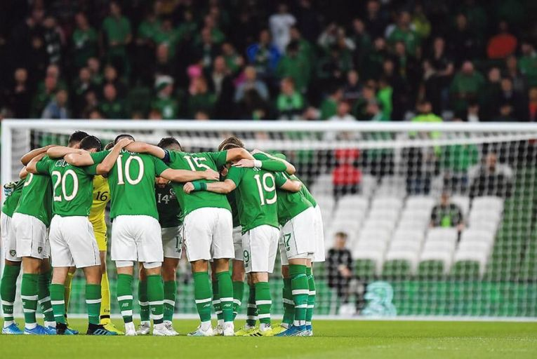 Ireland players huddle  before an international  friendly at the Aviva:  the Dublin stadium has  been described as a noose  round the FAI's neck Picture: Getty