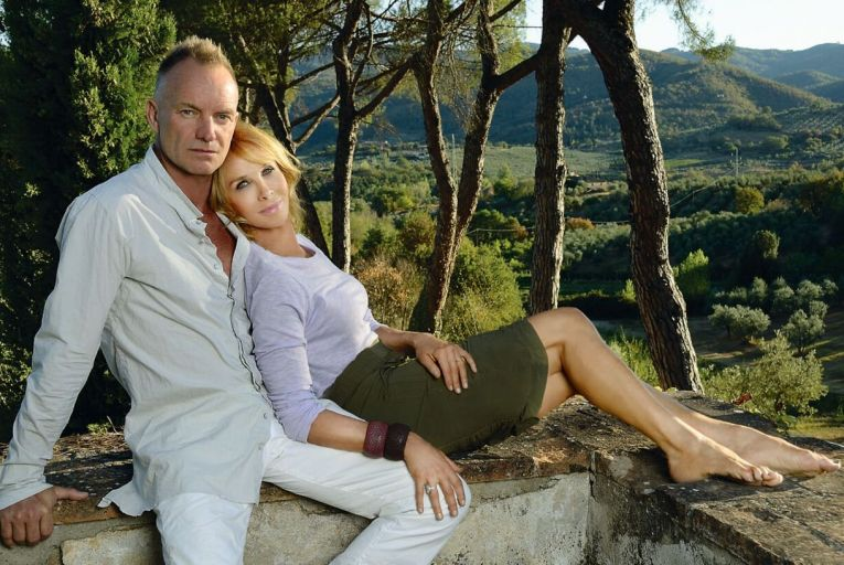 Sting and his wife Trudy in Il Palagio,their vineyard