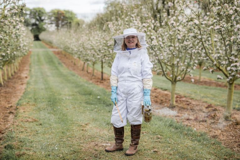 Marie Cooney, who together with her husband Pat runs Boann distillery, got her first hive in 2016 as a means of pollinating the 6,500 apple trees that are used for their gin 'Silks'. Picture: Gabriel Cassan