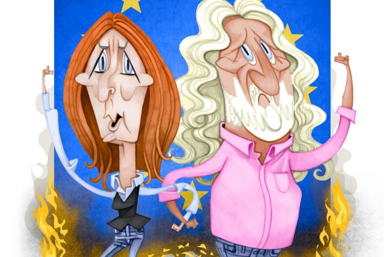 Clare Daly and Mick Wallace: under fire for their positions on foreign policy. Illustration: Peter Hanan