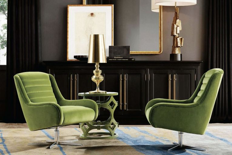 Swivel green velvet armchairs by Vanhoose add colourful style