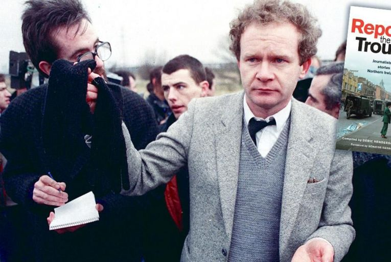 Martin McGuinness holds Michael Stone's gloves and bullets after the loyalist attacked the 1988 funeral in West Belfast of the Gibraltar bombers Mairead Farrell, Sean Savage and Danny McCann PIc: Pacemaker