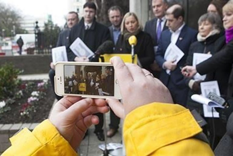 RENUA Ireland party leader Lucinda Creighton with candidates†talking to the media outside the†Ex-Anglo Irish Bank Head Quarters at St. Stephens Green in Dublin Pic: RollingNews.ie