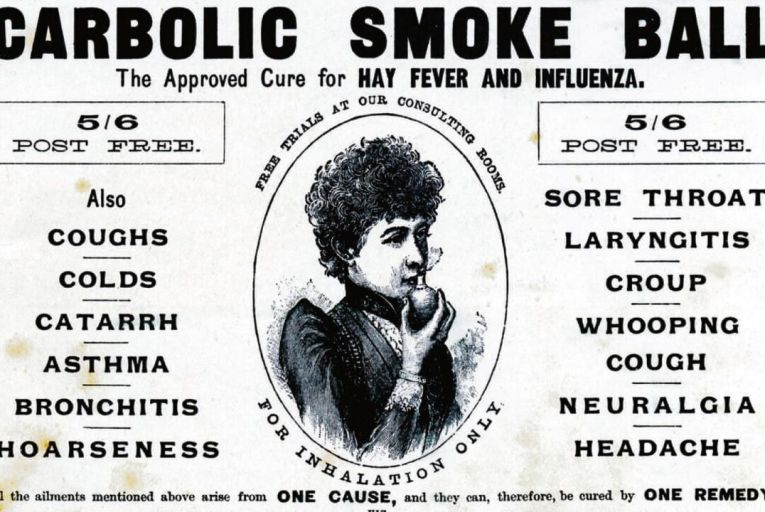 Elizabeth Carlill bought a carbolic smoke ball, only to quickly discover that it had one crucial design flaw: it didn't actually work.