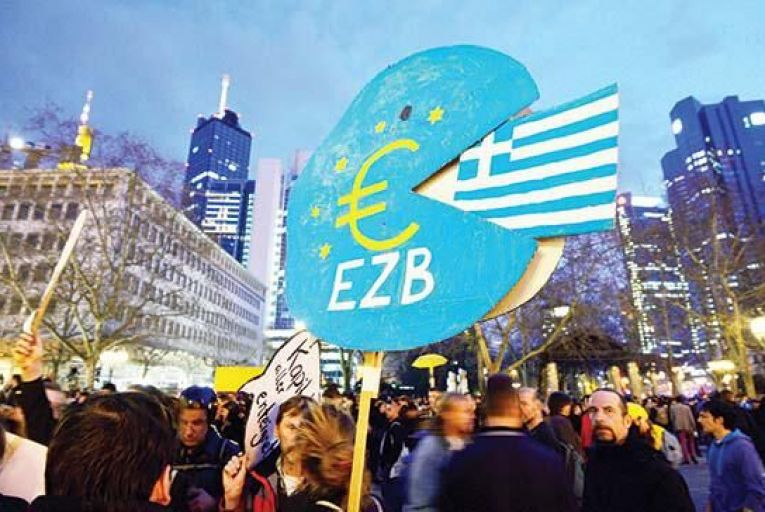 Protesters make their voices heard outside the ECB\'s HQ in Frankfurt