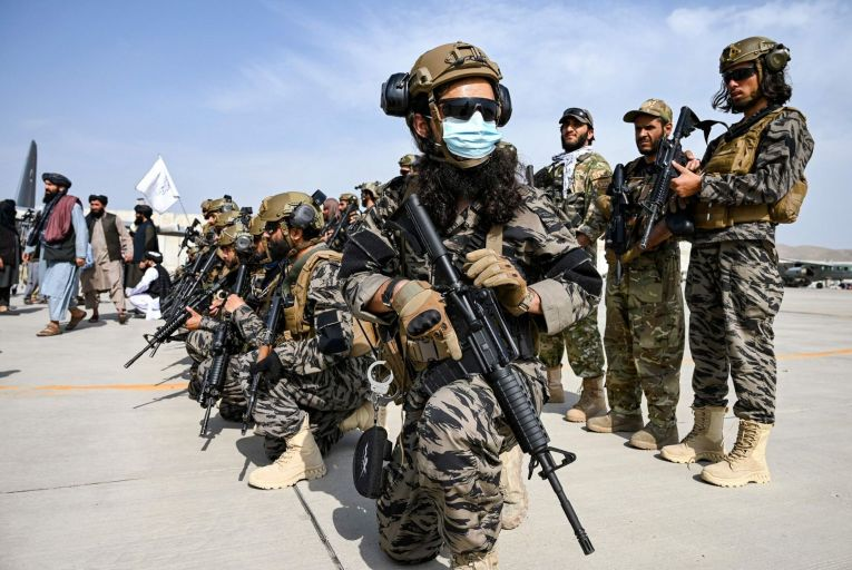 Members of the Taliban Badri 313 military unit take up position at Kabul airport after the US pulled its troops out of the country: the chaotic withdrawal has damaged the US's capacity to be a global actor. Picture: Getty