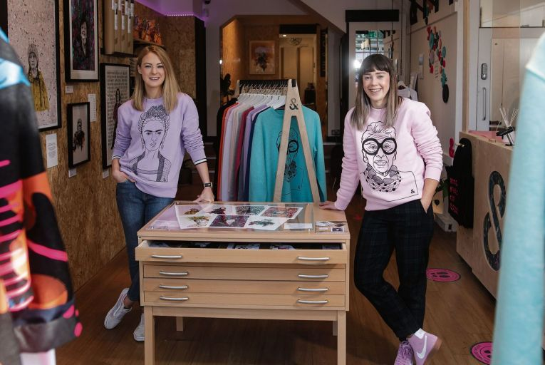 Jill Deering and Gillian Henderson, design duo Jill & Gill, in their pop-up space on St Stephen's Green