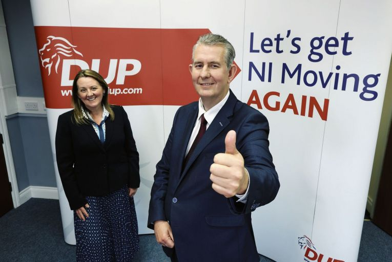Edwin Poots celebrates his win with Paula Bradley, the DUP's deputy leader, in Belfast on Friday. Picture: Press Eye