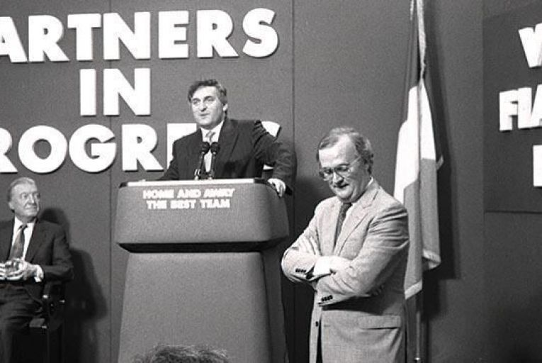 Mara with the two taoisigh he served, Charles Haughey and Bertie Ahern, at a press conference in Dublin's Shelbourne Hotel during the 1989 general election campaign