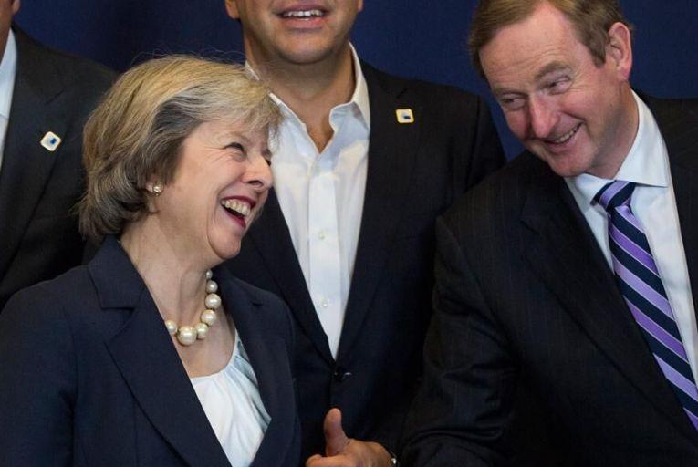 Theresa May and Enda Kenny at an EU Council meeting  Pic: Getty
