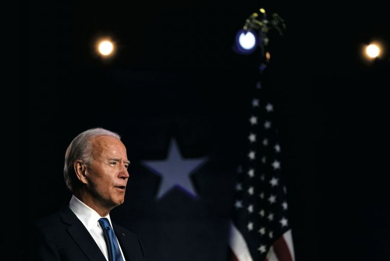 Joe Biden gives a speech from the Chase Center in his home town, Wilmington, Delaware. Picture: Getty
