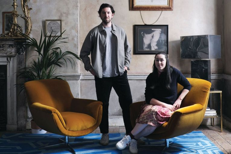 Ciaran with his sister, designer Katie Ann McGuigan who designed a rug collection with Orior