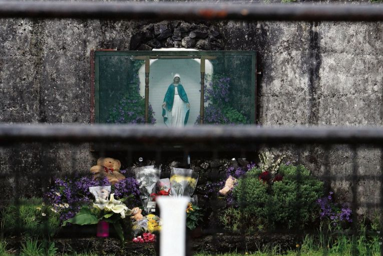 A shrine in Tuam, Co Galway, erected in memory of up to 800 children buried at the site of the former mother and baby home