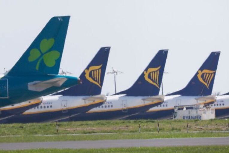 Grounded planes at Dublin Airport: the Irish Exporters Association has said restrictions on air travel would have major knock-on effects for companies that bring in vital manufacturing materials in the bellies of passenger aircraft